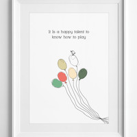 wall art - wall decor - Quote Poster - It is a happy talent to know - Printable Quote - Digital Art - Typography Poster, ALL SIZES, A3