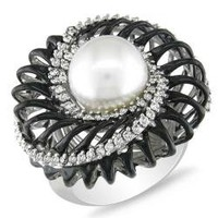 18k White Gold South Sea Pearl and 5/8ct TDW Diamond Ring (G-H, SI1-SI2) | Overstock.com