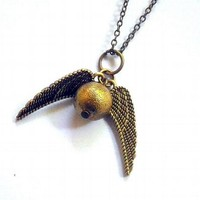 Harry Potter's Golden Snitch: winged golden sphere pendant necklace