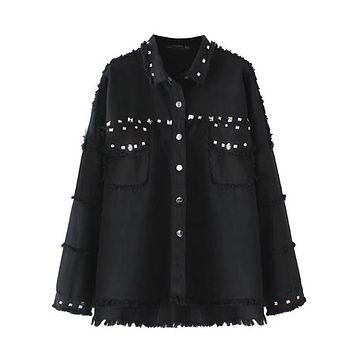 Spring Rivet Denim Jacket Women Coat Black Tassel Loose High-Quality Jaqueta Feminina Turn-Down Collar Jean Jacket WT0244