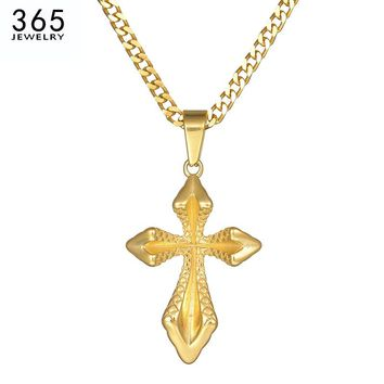 Classical Cross Stainless Steel Women Pendant Necklace Gold Color Love Jesus Chain Necklace For Female Christmas Gift