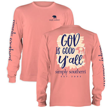 Simply Southern God Is Good Y'all Preppy Elephant Long Sleeve T-Shirt