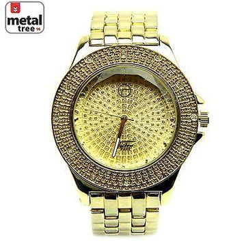 Jewelry Kay style Men's Hip Hop Iced Out Analog Stainless Steel Metal Heavy Band Watches 8002 GD