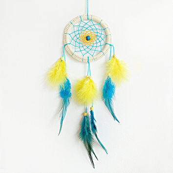 Dreamcatcher, Yellow Blue Dreamcatcher, Hippie, Boho, Bright Dreamcatcher, Light Blue Decor, Mobile, Home Decor, Yellow, Native American