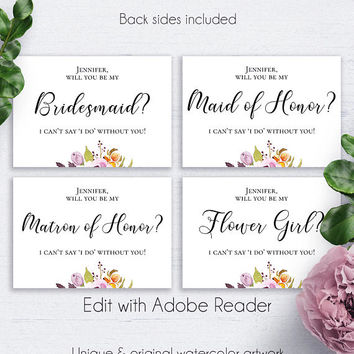 Marsala Bridesmaid Template Download, Bride, Printable Bridal, Will You Be Mine, Maid of Honor, Matron of Honor, Flower Girl, Proposal Card