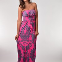 Fuchsia and Gray Damask Print Strapless Maxi Dress