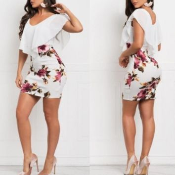 Women's new fake two-piece printed slim dress white