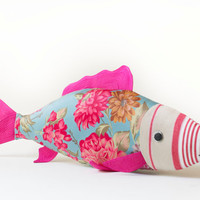 Soft toy fish handmade with fabric. Coloured and suitable as toy as pillow