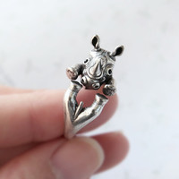 1PCS Hot Sale Engagement Hinoceros Ring Rhino Ring Everyday Fashion Jewelry Animals Rings For Women Animal Rings 2016
