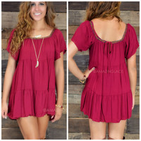 Santa Clara Burgundy Tribal Trim Swing Dress