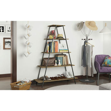 Manhattan Comfort Ellis Pyramid Bookcase With 5 Shelves In Dark Oak And Black