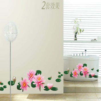Water lily The third generation of environmental protection of PVC can move decoration composite wall stickers SM6