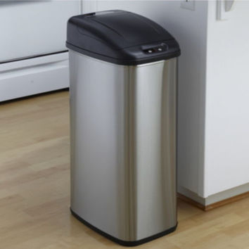 50 Liter Stainless Steel Trash Can Touchless Motion Sensor Kitchen Furniture New