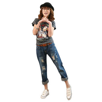 New Arrival Korean Style Loose Rock Revival Women Hole Jeans Female Plus Size Jeans Female Ripped Jean Freeshipping