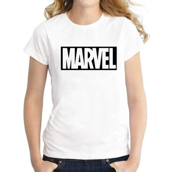 MARVEL Letter Graphic tees Women Clothing 2018 Summer T shirt Women Cotton Loose t shirts Harajuku Tumblr Hipster Ladies T-shirt