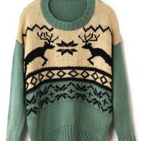 Loose Reindeer Graphic Sweater - OASAP.com