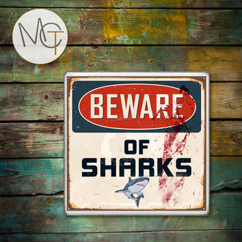 Beware of Sharks Drink Coasters, Rusty and Bloody Sign, Hot and Cold Drinks, Beach Bar Coasters, Manly Decor, Man Cave, Made To Order
