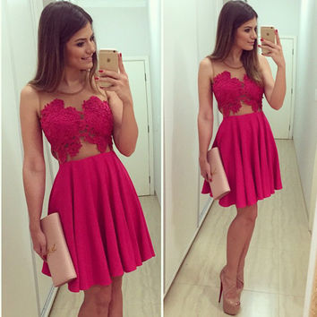Red Sheer Mesh Lace Spliced Skater Dress