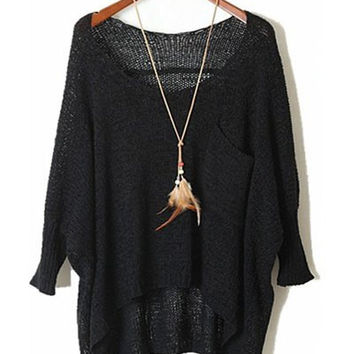 Black Sheer One Pocket Long Sleeve Sweater