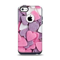 The Pink and Purple Candy Hearts Apple iPhone 5c Otterbox Commuter Case Skin Set