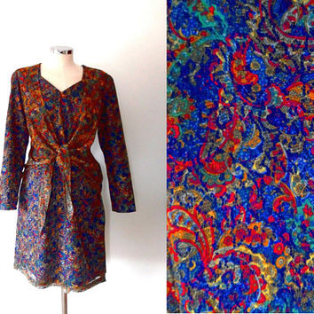 Colourful lace dress / paisley / layered / royal blue / red / green / yellow / vintage / long sleeve / button / midi length tie shift dress