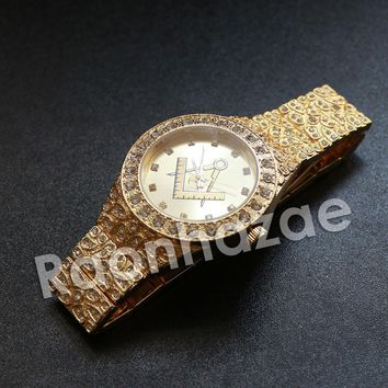 Iced Out Hip Hop FreeMasonic Nugget Watch