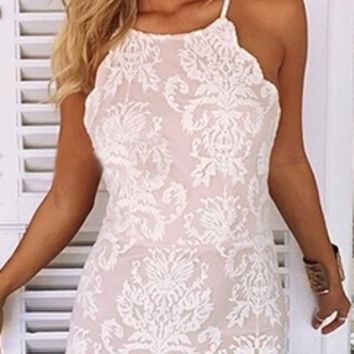 White Blue Lace Spaghetti Strap Scoop Neck X Back Halter Bodycon Mini Dress