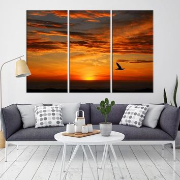 44743 - Flying Bird on Painted Sky Wall Art Canvas Print