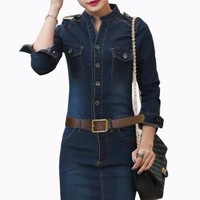 Casual Denim Vintage Jeans Dresses Long Sleeve Blue