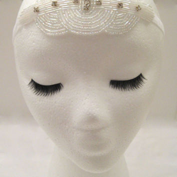 The Viola - white art deco headpiece, white 1920s hair piece, Great Gatsby headband, 1920s wedding hairpiece, roaring 20s wedding