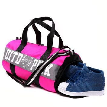""" Pink "" Printed High Quality Durable Victoria's Secret Like Sport Exercise Carry on Yoga Gym Travel Luggage Bag  _ 13493"