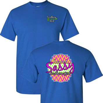 Sweet Sassy Southern Girl on a Blue Short Sleeve T Shirt