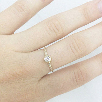 Delicate Engagement Ring, 14K Thin Gold Ring, 0.25 CT Pave Diamond Ring, Gold Rings for Women, Pave Ring, Unique Rings