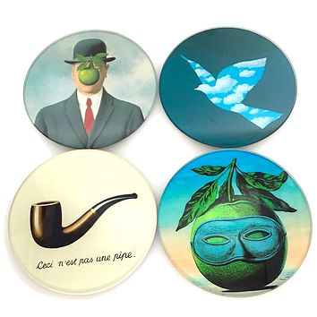 Magritte Surrealism Paintings Bar Drink Glass Coasters Set of 4