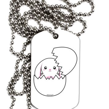 Cute Easter Bunny Hatching Adult Dog Tag Chain Necklace by TooLoud