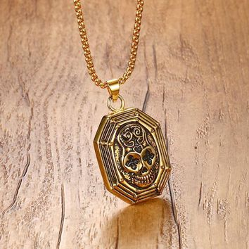 """Octagon Sugar Skull Pendant Necklace for Men Stainless Steel Punk Hip-Hop Male Jewelry Gold Tone 24"""" Halloween Jewellery"""
