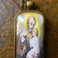 St Joseph Child Jesus Christ Glass Tile Pendant Necklace Religious Christian Necklace