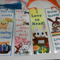 Easter Bunny Bookmarks Childrens Bookmarks  Party Favor Easter  Bookmarks