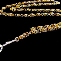 Elegant Two Tone Byzantine Necklace Lanyard