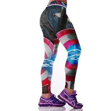 Fashion 2016 Women Sporting Leggings 3D Captain America shield Printed Gothic Pants Polyester/Spandex Knitted Gymnastics Capris