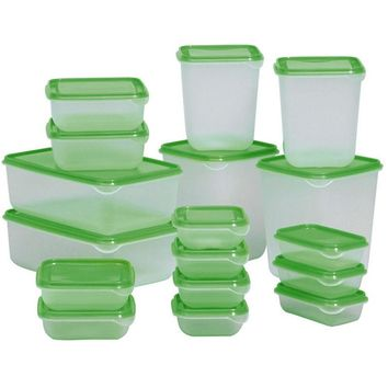 17 Pieces Multifunction Plastic Lunch Box Set Oven Safe Food Containers Green Kitchen Food Storage