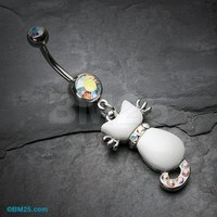 Sassy White Kitty Cat Belly Button Ring
