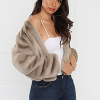 No Competition Faux-Fur Coat - Nude