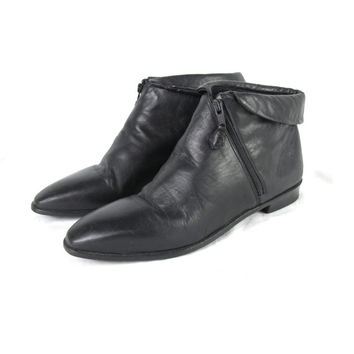 90s Black Leather Ankle Boots Flat Ankle Boots Minimal Pointy Toe Boots Cuffed Ankle Zip Boots Asymmetrical Zipper Pirate Boots (8)