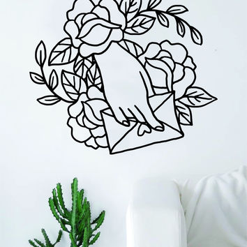 Hand Envelope Roses Love Tattoo Wall Decal Sticker Room Art Vinyl Home House Decor Traditional