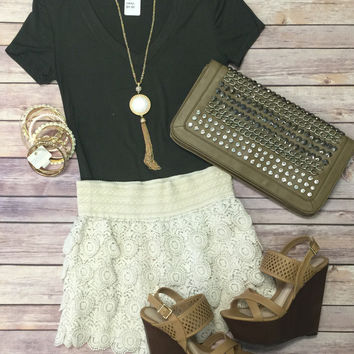 Lace Round About Shorts