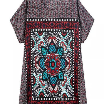 Vintage Print Round-neck Short Sleeve Ladies Pullover One Piece Dress [5013236612]