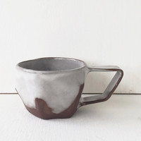 Ceramic Tea Cup or Coffee Mug / Modern Geometric Angular Shape / Silver Grey and Chocolate Brown Mug / The Samara Tea Cup / READY TO SHIP