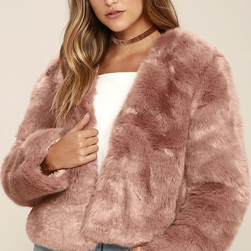 Somedays Lovin' The Giver Mauve Faux Fur Coat