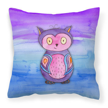 Pink and Purple Owl Watercolor Fabric Decorative Pillow BB7427PW1414